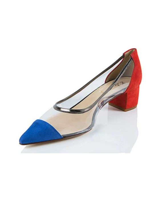 K.Spin - Red & Blue Suede Pointed Pump