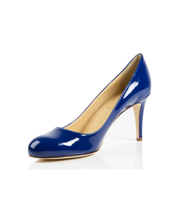 K.Spin Round Toe Patent Leather Pump - Blue