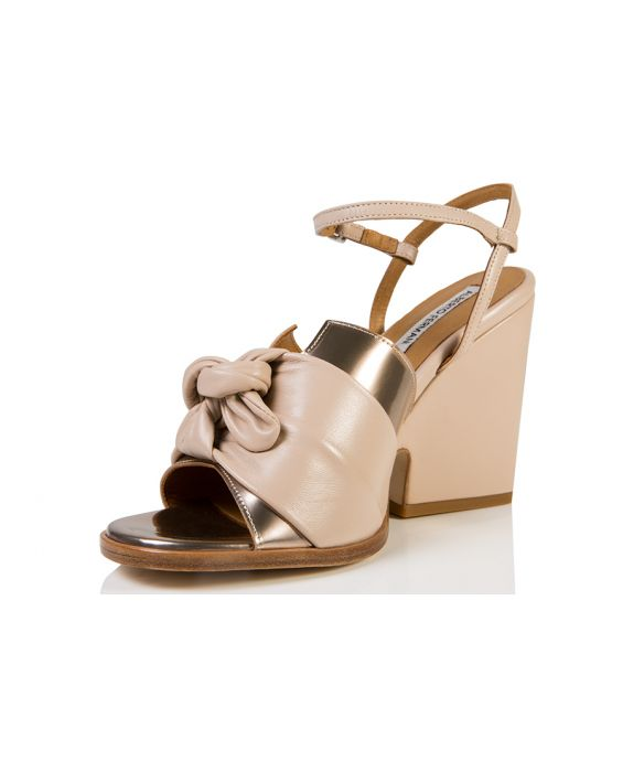 Alberto Fermani Specchio/Calf Leather Wedge - Brown/Cream