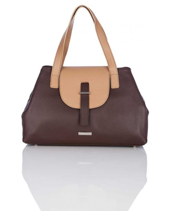 MINNOZZI 'CLAASIC' LEATHER TOTE - BROWN & CAMEL