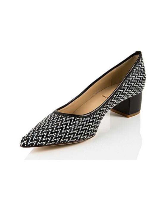 K.Spin - Black & White Woven Leather Pump