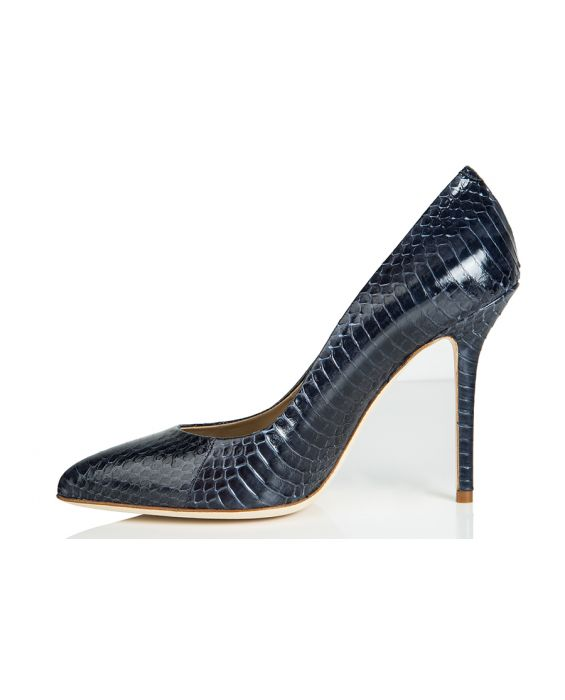 Goffredo Fantini Python Printed Leather Pump - Blue