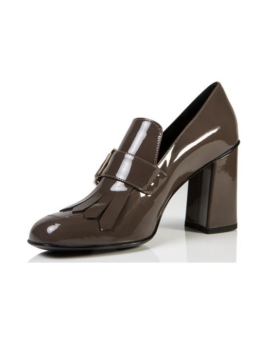 Bruglia 'Moon' Patent Leather Pump - Dark Taupe