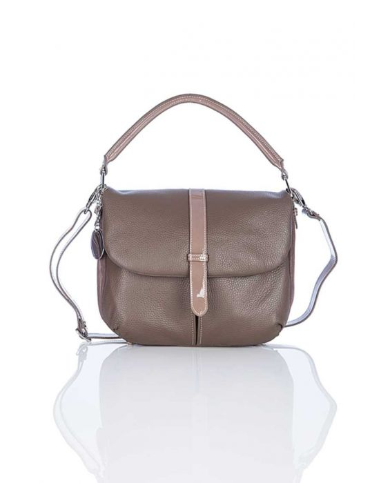 Minnozzi 'Cherry' Leather Satchel - Taupe