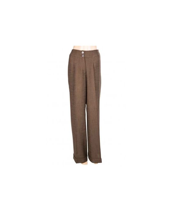DE-SOLA CASUAL LINEN TROUSERS - BROWN