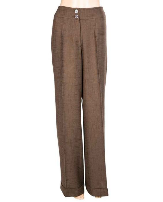DE-SOLA CASUAL LINEN TROUSERS - BROWN 455555