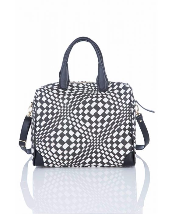 Fontanelli - Black and White Woven Satchel