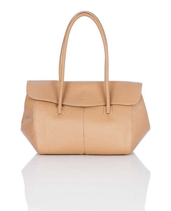 MINNOZZI 'DUFFLE' LEATHER TOTE - BROWN