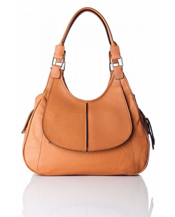 MINNOZZI 'BLAKE' LEATHER TOTE - BROWN