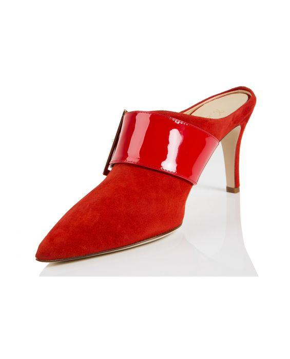 K.Spin Suede & Leather Mule - Red