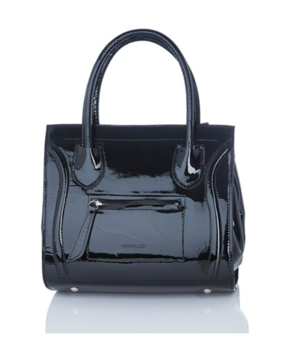 MINNOZZI – PATENT LEATHER TOTE BLACK