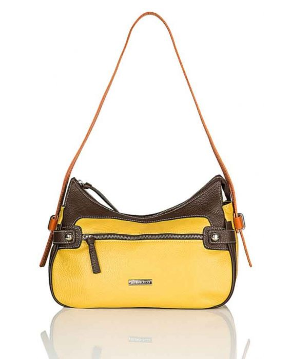 MINNOZZI '3363' SHOULDER BAG - YELLOW/BROWN/ORANGE