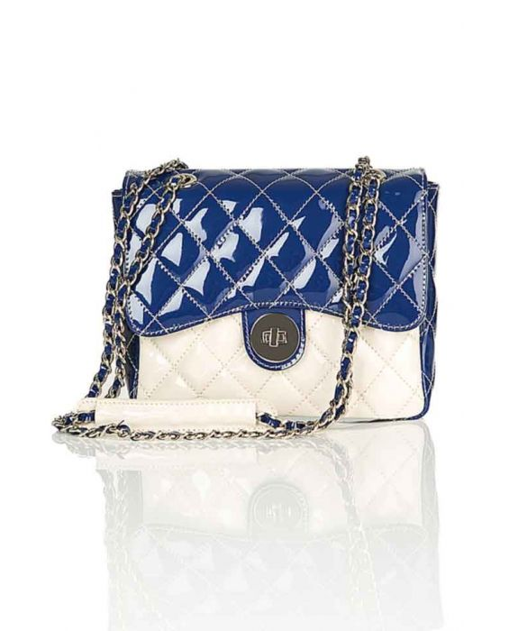MINNOZZI '2210' NAVY BLUE/CREAM SHOULDER BAG