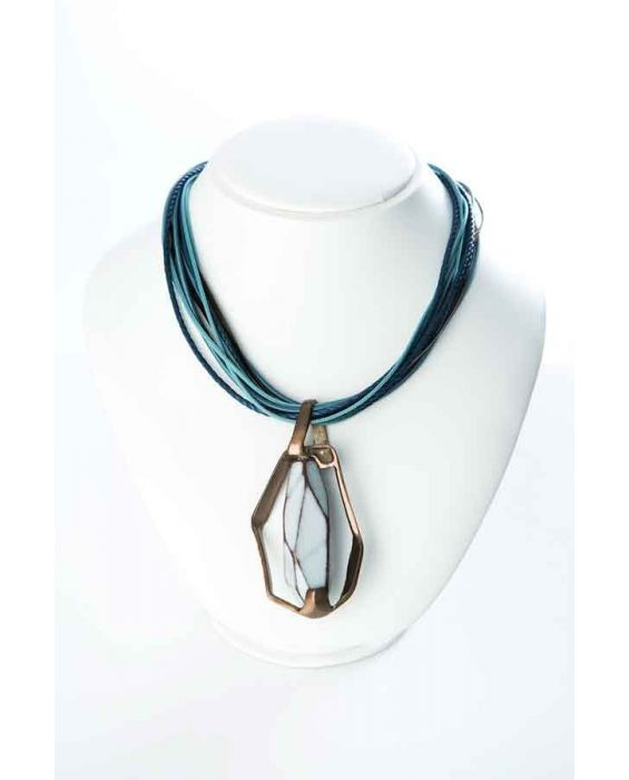 STUDIO-GI BRASS AND NATURAL STONE NECKLACE - BLUE