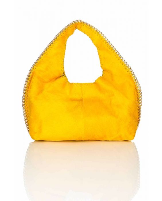 FONTANELLI PONY SKIN HOBO - YELLOW