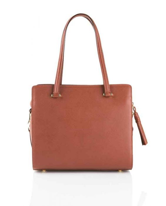 FONTANELLI SAFFIANO LEATHER TOTE - BROWN