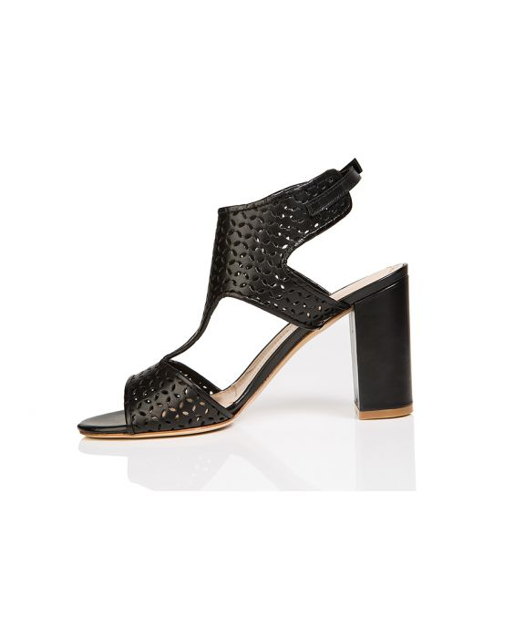 E'Clat Calf Leather Sandal - Black
