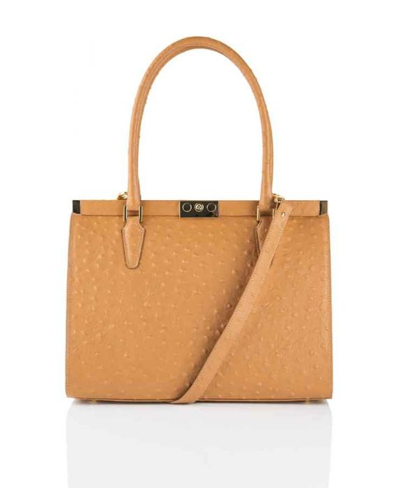 Fontanelli Ostrich-Embossed Leather Tote - Brown