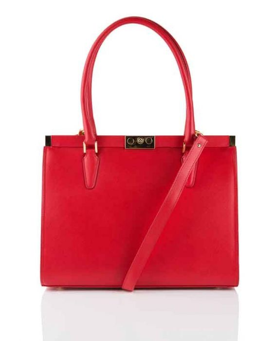 FONTANELLI SAFFIANO LEATHER TOTE - RED