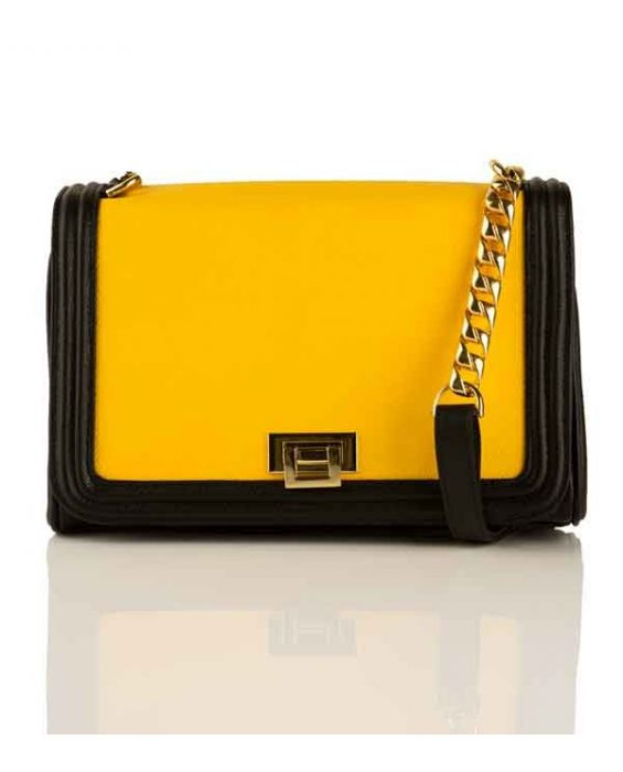 FONTANELLI CHAIN SHOULDER BAG - BLACK/YELLOW