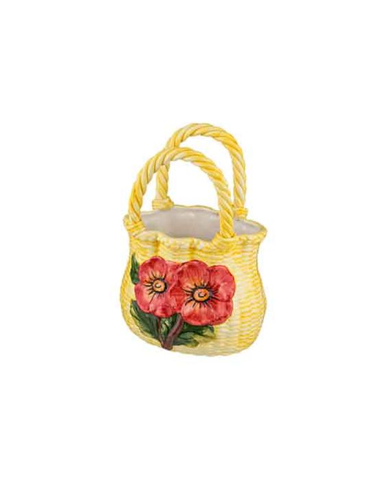 Ceramiche D'Arte Woven Ceramic Bag - Yellow