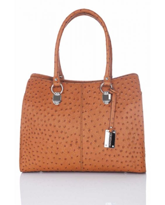 GIORDANO – EMBOSSED OSTRICH LEATHER TOTE BROWN