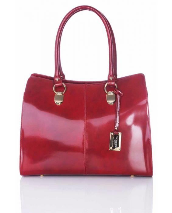 GIORDANO – OLD STYLE ENGLISH LEATHER TOTE - RED