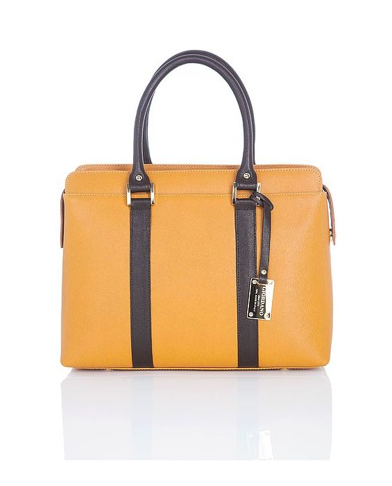 GIORDANO - MUSTARD SAFFIANO LEATHER TOTE