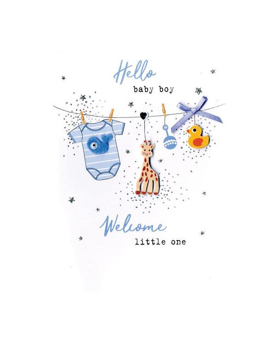 Second Nature 'Blue'  New Baby Birth Card