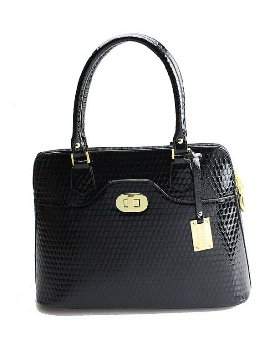 GIORDANO - TUDOR LEATHER TOTE - BLACK