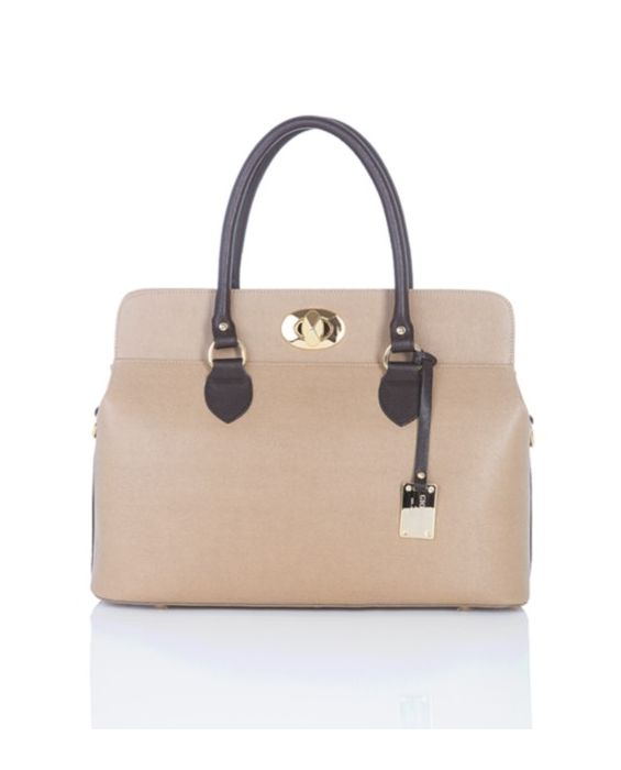 Giordano - Two-Tone Saffiano Leather Satchel - Camel