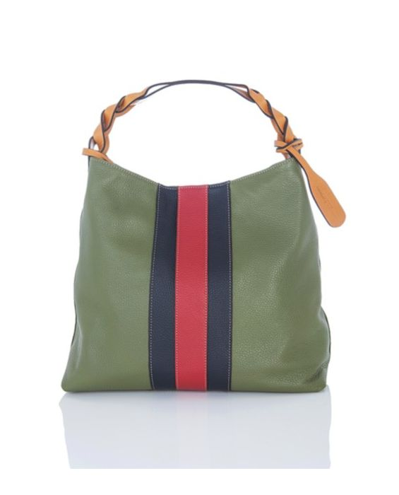 Frattassimo - Contrasting Leather Hobo - Green