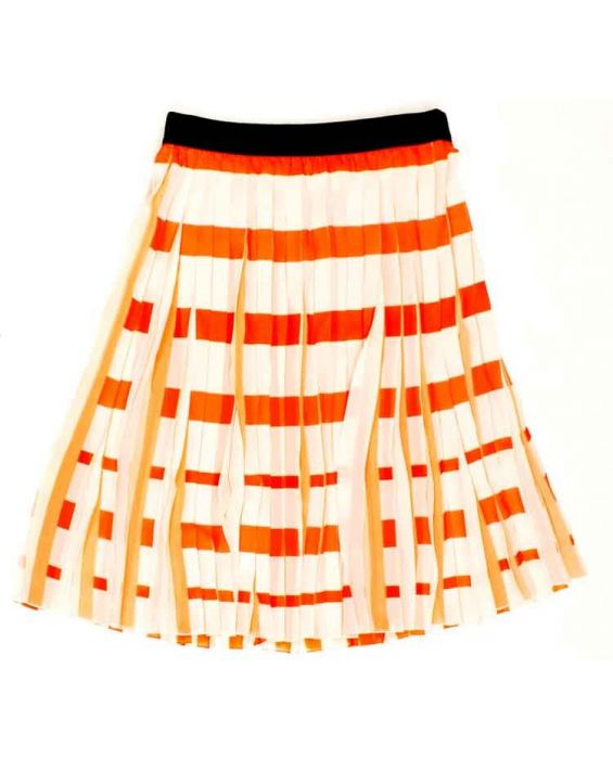 CARACTERE - PLEATED SKIRT - ORANGE MULTI