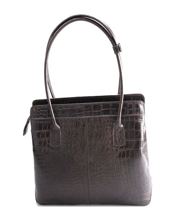 MINNOZZI - EMBOSSED CROC LEATHER TOTE - BROWN