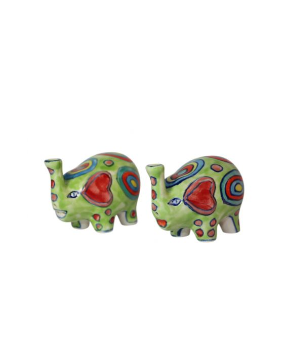 Gall and Zick 'Elephant' Ceramic Salt and Pepper Shakers - Green
