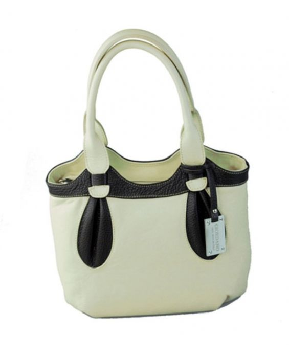 GIORDANO - BEIGE LEATHER PETIT TOTE - BEIGE