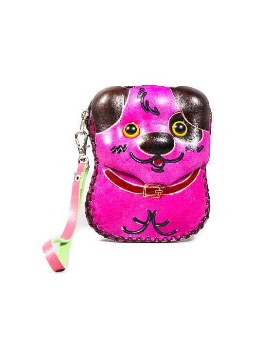 Remscollection Puppy Leather Purse - Fushia Pink