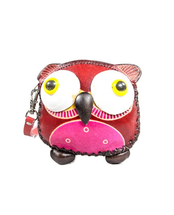 Remscollection Owl Shaped Leather Purse - Red