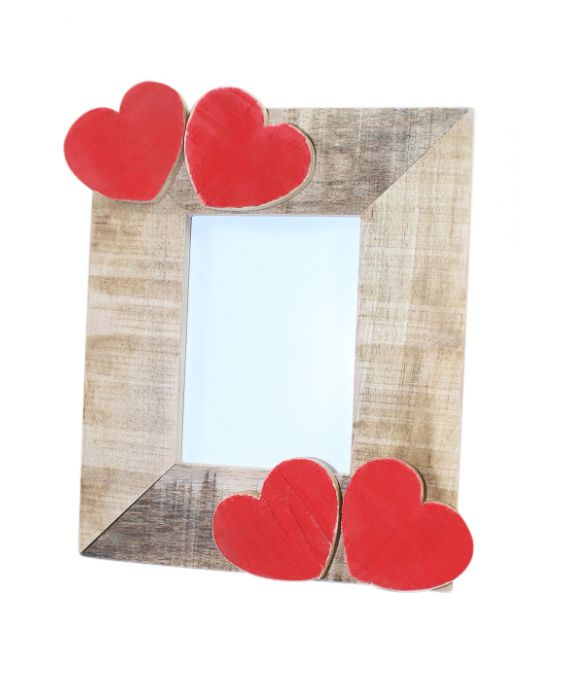 Centro del Mutamento Love Hearts Wooden Picture Frame - Natural Wood