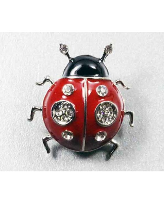 ARTICLES DE PARIS 'LADY BIRD' BROOCH - RED/BLACK