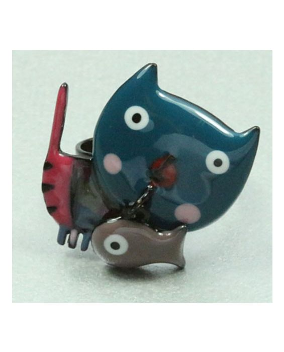 ARTICLES DE PARIS - 'CAT HEAD' RING - TURQUOISE