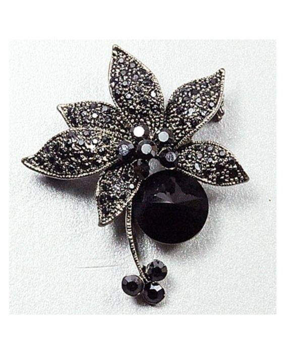 ARTICLES DE PARIS 'FLOWER' BROOCH - BLACK/SILVER