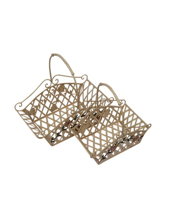 Mastercraft Set of Two Metal Baskets - Rusty Cream