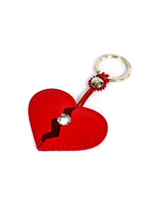 Dallaiti Leather Red Heart Key Holder