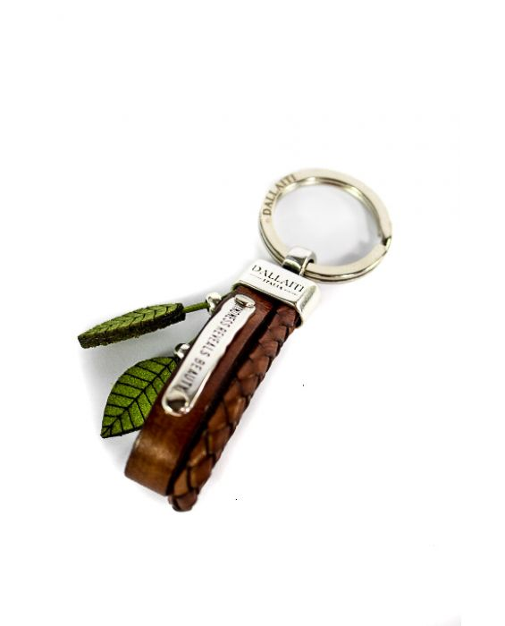 Dallaiti Brown Leather and Lime Green Suede 'Leaf' Keyring