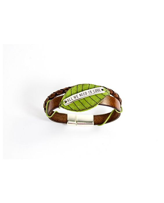 Dallaiti Leather and Suede Bracelet - Brown/Green