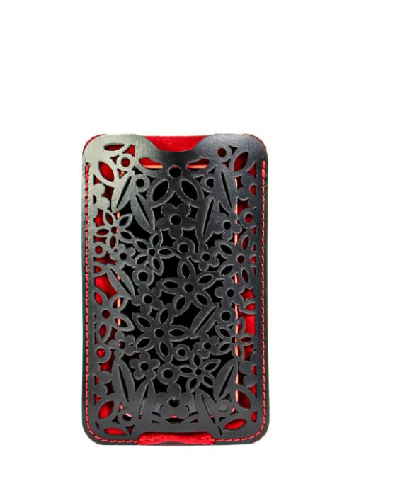 Dallaiti Leather and Suede Smartphone Case - Black/Red