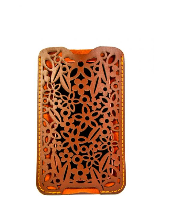 Dallaiti Leather and Suede Smartphone case - Brown/Orange
