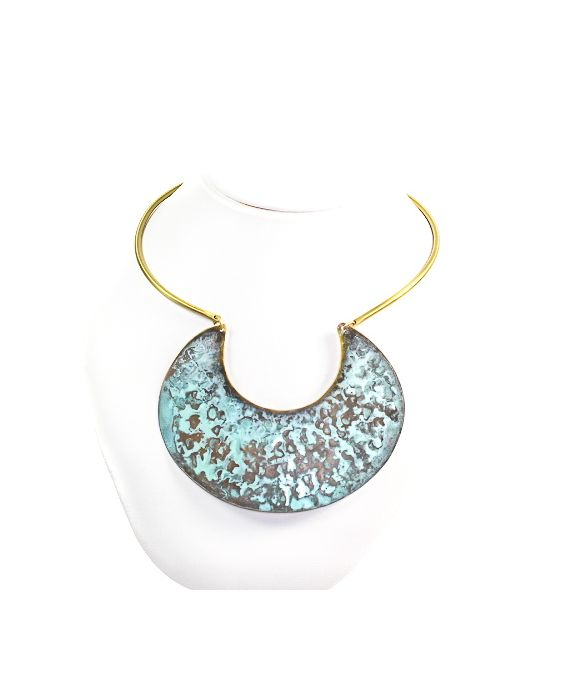 ExNovo Bijoux Brass Necklace - Gold/Aqua