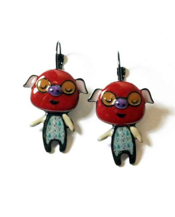 ARTICLES DE PARIS 'PIG' EARRINGS - RED